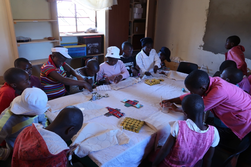 Malealea Development Trust's Young Women's Support Group, learning how to sew table mats and reusable sanitary pads, Malealea, Lesotho, Southern Africa, income generation