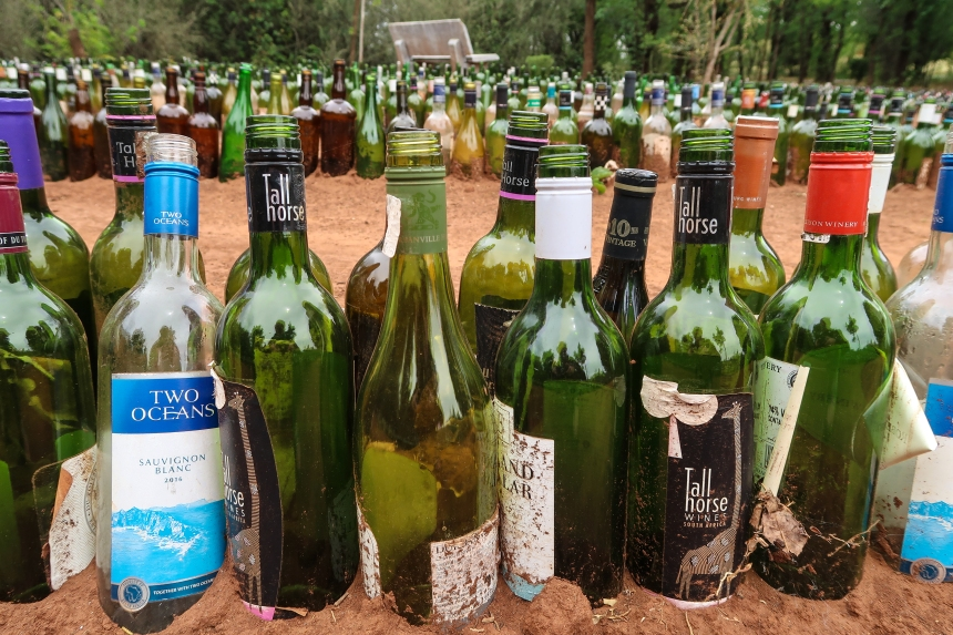 Wine Bottle Maze at the Malealea Lodge, photo by Kelly Benning