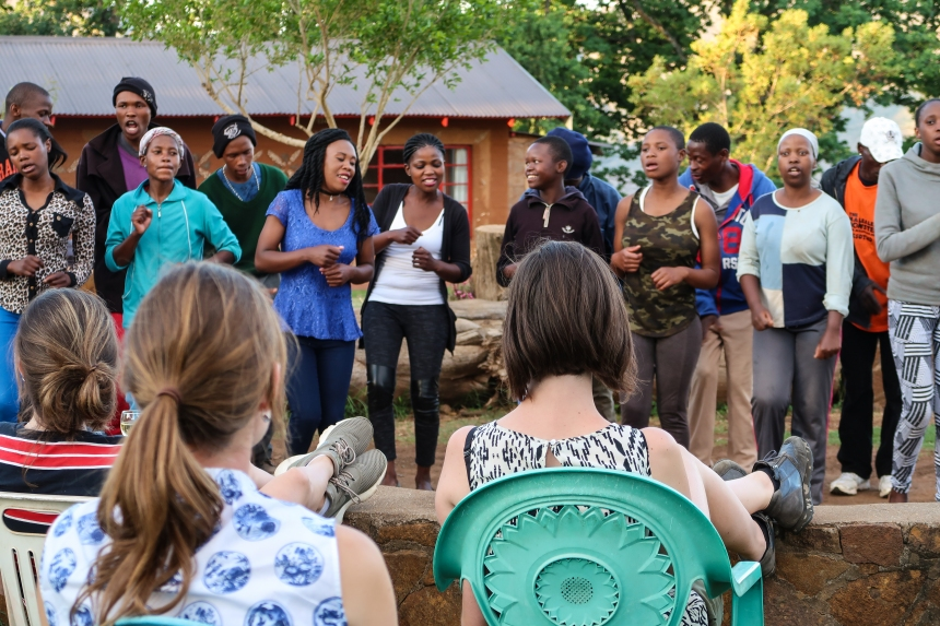the Malealea choir performs at the Malealea Lodge for a relaxing audience of travelers, photo by Kelly Benning