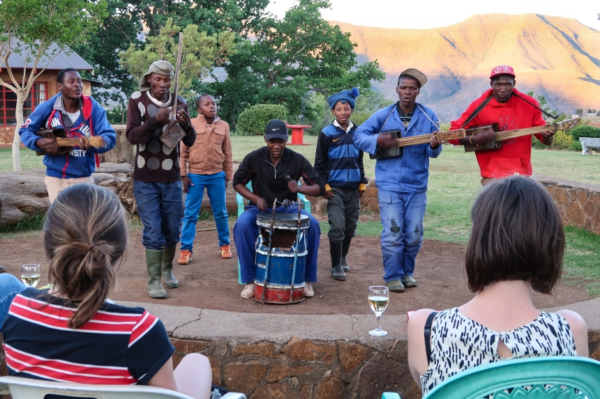 the band performs Basotho music on Basotho instruments at the Malealea Lodge, photo by Kelly Benning