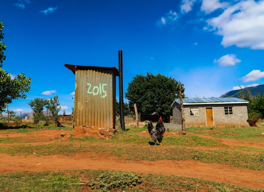 a corrugated outdoor toilet in the rural village of Malealea, Lesotho, Southern Africa, photo by Kelly Benning