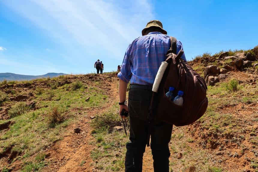 Climbing a Hill in Malealea, photo by Kelly Benning