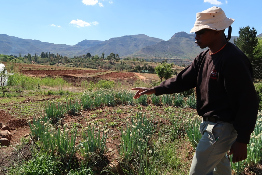teaching garden in Malealea with instructor, beautiful mountains, nature, Lesotho