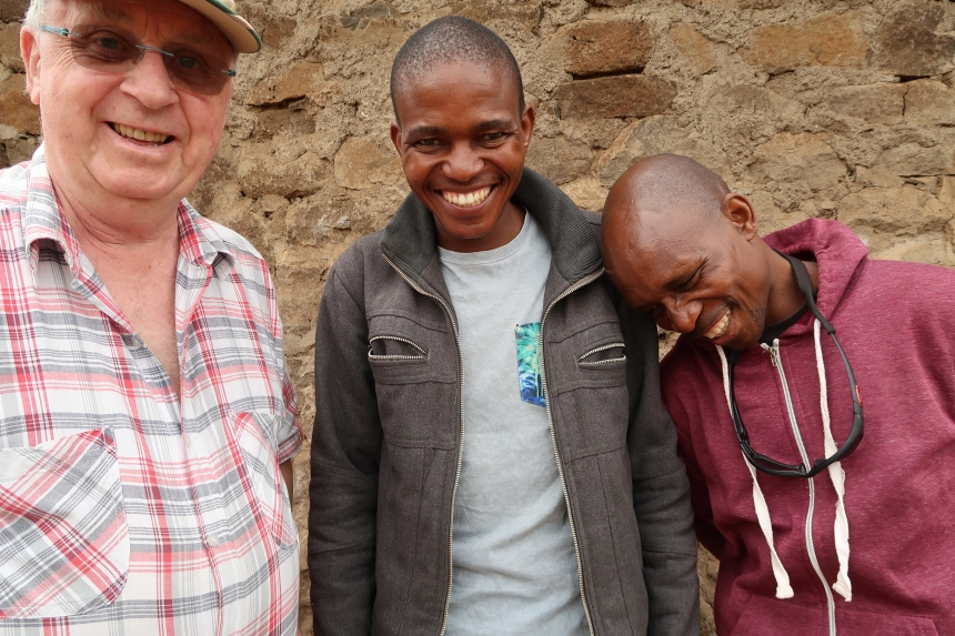 three men excited about fundraising prospects for a new school in Malealea, Lesotho, Southern Africa