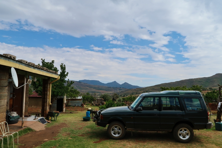 a Land Rover parked at a village home in Ha Raboletsi, Roma, Lesotho, Southern Africa, photo by Kelly Benning