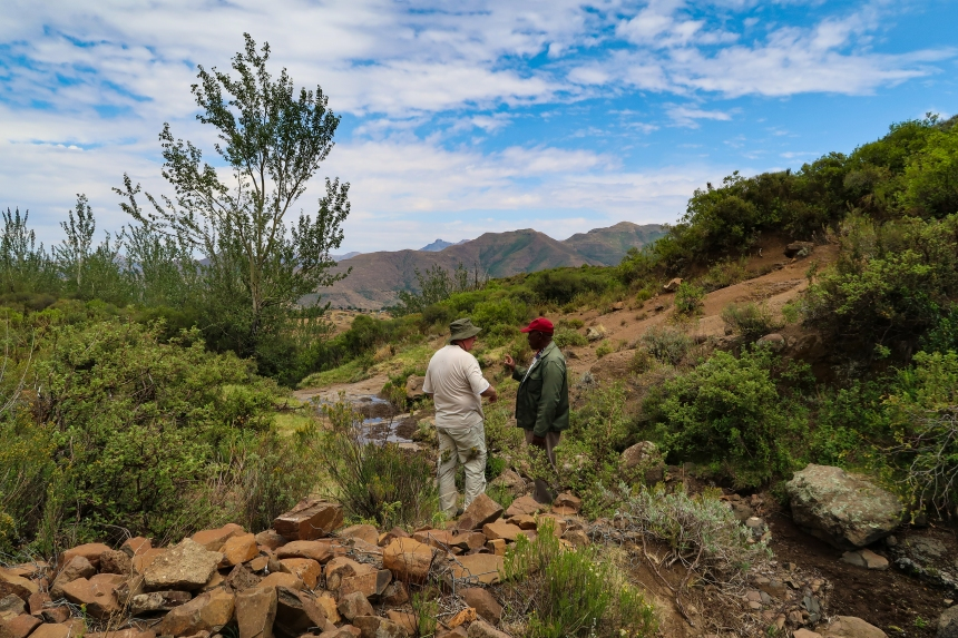 at the spring source of water in Ha Raboletsi, Roma, Lesotho, Southern Africa, photo by Kelly Benning