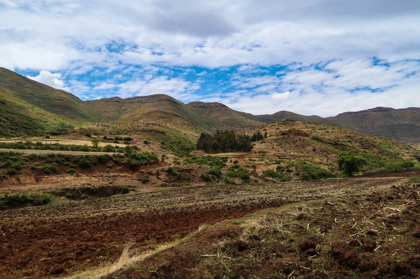 fields in Ha Raboletsi, Roma, Lesotho, Southern Africa, photo by Kelly Benning